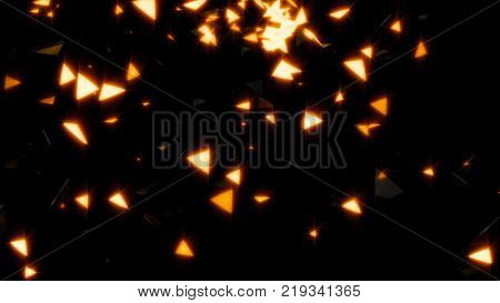 Abstract background with gold particles and shapes. 3d rendering