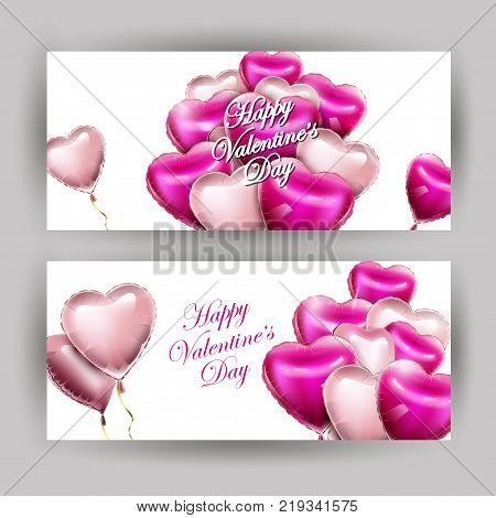 Valentines day set of horizontal banners with 3d heart-shaped balloons . Vector template.