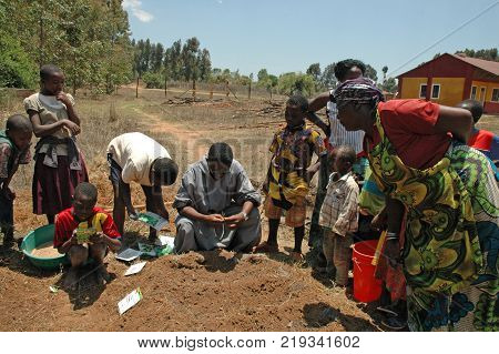 20 August 2017-Pomerini Village in Tanzania-Africa-An unidentified group of Africans works to clear the land and sow self-sustaining project of the Franciscan Friars of the Pomerini Village