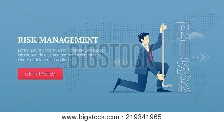 Vector banner template of businessman character measuring a word 'risk' with measure tape. Vector concept for internet banners, social media banners, headers of websites and more.
