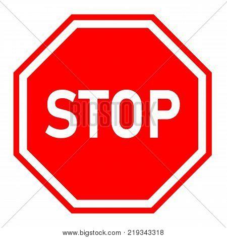 stop sign on white background. red stop symbol. traffic regulatory warning stop symbol.