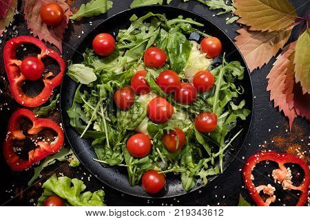 vegetarian salad proper nutrition concept. hard diet lifestyle. specially for cellulose fans.