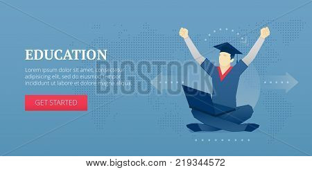 Vector banner template of student character in a student hat sitting with laptop on his crossing legs. Educational vector concept for banners, infographics, landing pages of website or print design