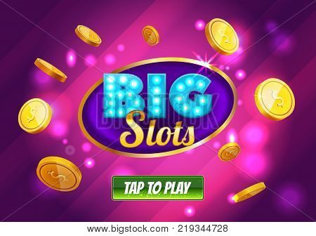 Online Big slots casino banner, tap to play button. Purple mobile slots logo with flying coins, explosion bright flash, colored ads or splash screen for game. Vector illustration.
