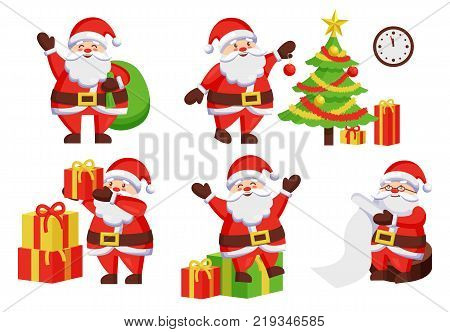 Santa Claus daily activities vector illustration poster. Father Frost decoration New Year tree by hanging color ball, winter holiday symbols vector