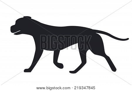 Dog black silhouette profile view vector illustration icon isolated on white background. Canine domestic pet, popular purebred in flat style design poster