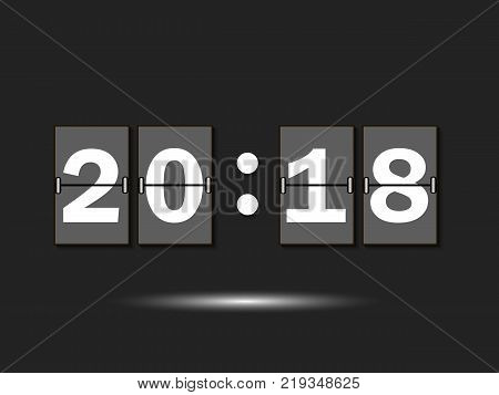New Year 2018 date. Figures 2018 on the numeric scoreboard. Vector illustration
