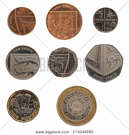 Full Range Of Coins Of United Kingdom Isolated Over White