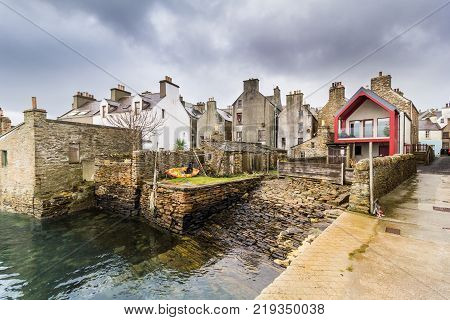 Houses facing on to the Harbour in the town of Stromness, Orkney, Scotland