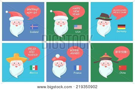 Santa Clauses from all over world in ethnic headdresses greet with New Year on foreign languages festive posters set vector illustrations national flags