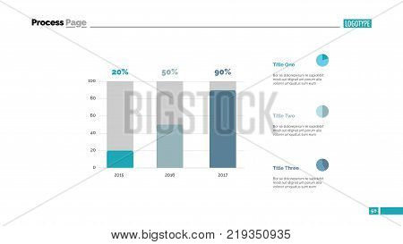 Sales increasing chart slide template. Business data. Graph, diagram. Creative concept for infographic, templates, presentation, report. Can be used for topics like development, research, progress