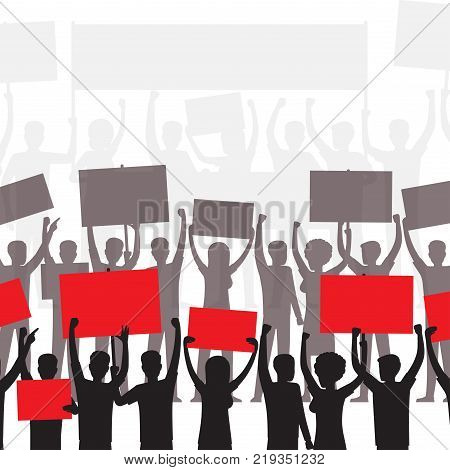 People on demonstration silhouettes with blank boards or placard. Demonstrators or protesters with bright banners above heads flat vector illustration for social ad