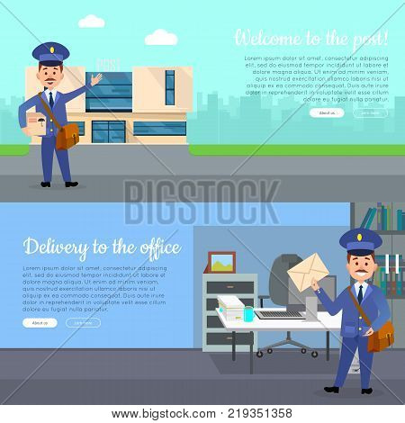 Post service web banners set with cartoon postman. Postal couriers with correspondence near post building and in office interior vector illustrations. Horizontal concepts for mail company landing page