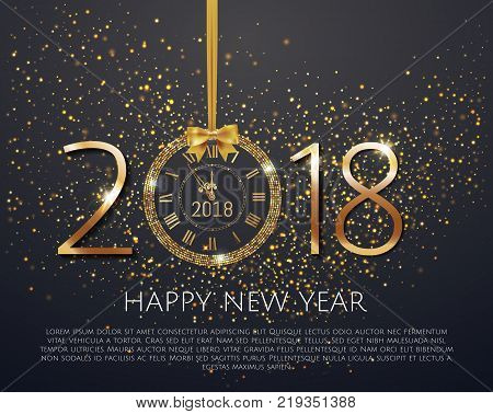 Vector stock numbers Happy New Year 2018 with  shiny New Year Clock in gold disco circle frame on black background. Vintage elegant luxury gold watch midnight New Year. Vector illustration EPS 10