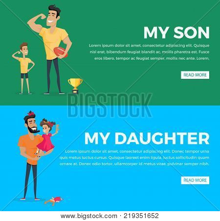My son and my daughter vector web poster with pictures and text on green, blue backgrounds. Father and little son show their power near golden cup, male parent with bow on head holds daughter on hands