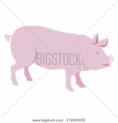 Pink pig vector illustration isolated on white background. Domestic farm animal in cartoon style flat design piggy or swine mammal
