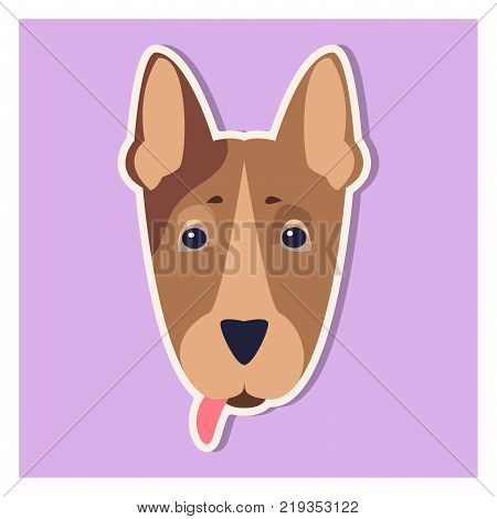 Doggie face of Bull terrier close-up cartoon image on purple background. Canine head is long, strong, low-set with pink hanging tongue. Vector illustration of pedigreed dogs graphic design art icon.