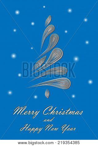 white elegant Christmas tree on blue background, vertical