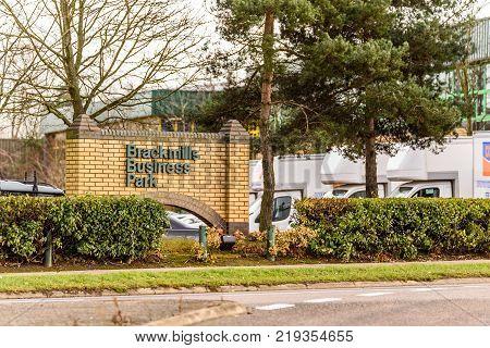 Northampton UK December 07, 2017: Brackmills Business Park Logo Sign in Brackmills Industrial Estate.