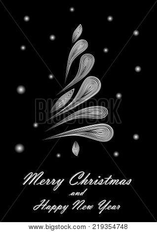 white elegant Christmas tree on black background, vertical