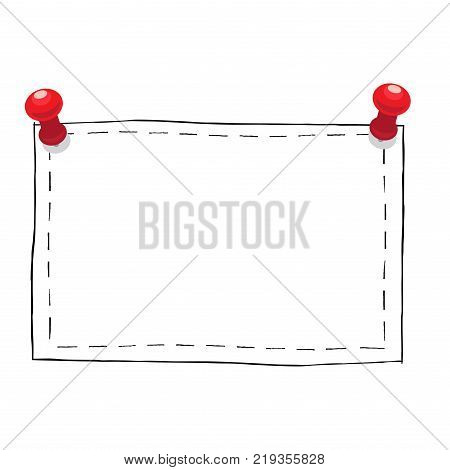 simple square black outlined frame with red pushpins isolated on white  background  plain and creative