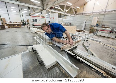 Furniture Manufacturing. Processing Of Chipboard Sheets
