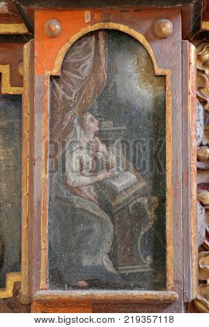 VUKOVOJ, CROATIA - MARCH 17: The Annunciation of the Virgin Mary, altarpiece on the main altar in the chapel of St. Wolfgang in Vukovoj, Croatia on March 17, 2017.