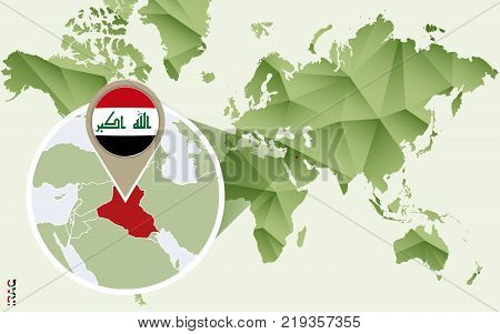 Infographic for Iraq detailed map of Iraq with flag. Vector Info graphic green map.