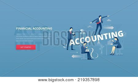 Vector illustrative hero banner of financial accounting. Marketing hero website header with men and women business characters around words 'accounting' over digital world map