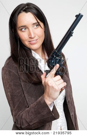Cowgirl with big revolver