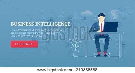 Vector banner template of businessman character in business suit sitting at the office desk and working on laptop. Vector concept for internet banners, social media banners, headers of websites and more