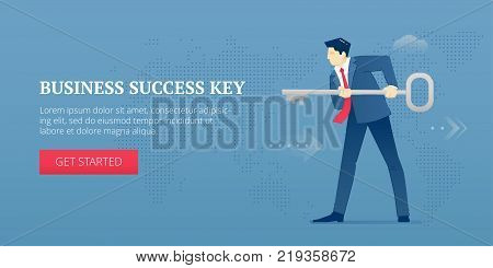 Vector banner template of businessman character in business suit holding a big metaphoric key. Vector concept for internet banners, social media banners, headers of websites and more
