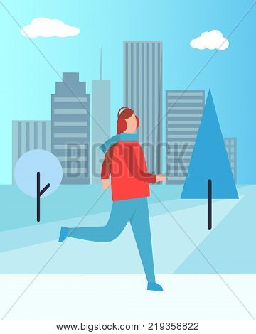 Woman in earphones running in warm winter cloth vector on background of skyscrapers. Girl dressed in jacket and blue jeans warming up in city park