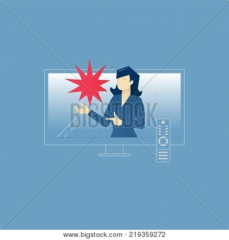 Vector illustration of TV advertising with female speaker on TV screen with TV remote. Vector concept for banners, infographics or landing pages of website