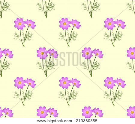 Pink Cosmos Seamless on Ivory Beige Background. Vector Illustration.