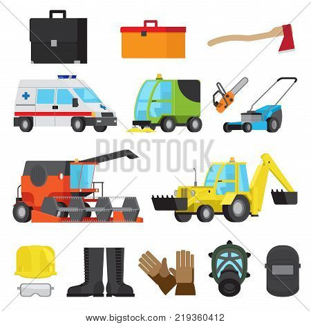 Set of harvesting and sweeping equipment, medical transport, lawn mowers, technology digging, protective accessories vector illustration