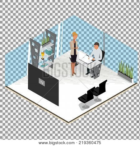 Isometric business people concept. man studding. Isometric office: table, laptop, books, notebook. Isolated on white background. - stock vector