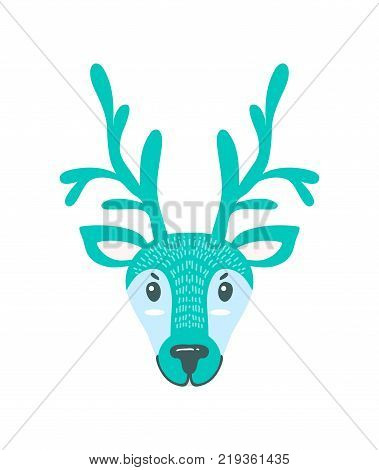 Furry North Pole deer with long branchy horns. Christmas animal head of unusual color isolated cartoon vector illustration on white background.