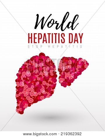 Vector illustration of a Liver and cell for World Hepatitis Day.