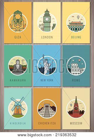 Famous landmarks in the world. Travel and Tourism. Landmarks icons set. Vector illustration