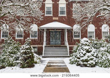 The former Englishtown Public School built in 1903 on a snowy New Jersey day.