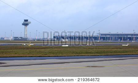 BERLIN, GERMANY - JAN 17th, 2015: Berlin Brandenburg Airport BER, still under construction, empty terminal building, architecture tour