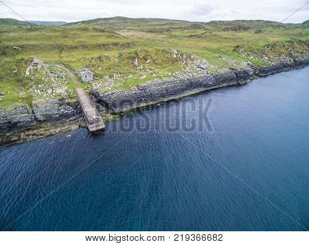 Aerial view of the forgotten pier between Ardfern and Craignish point, Scotland