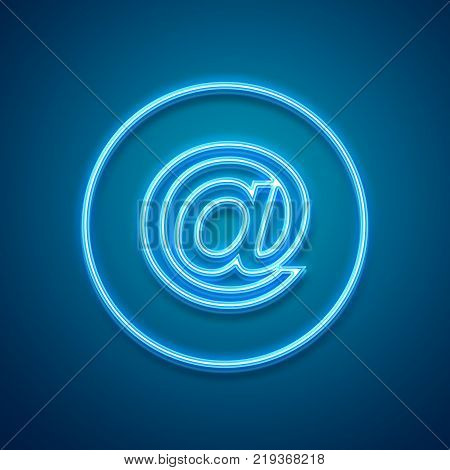 E-mail neon design. E-mail neon symbol. Internet concept. Illustration stock.