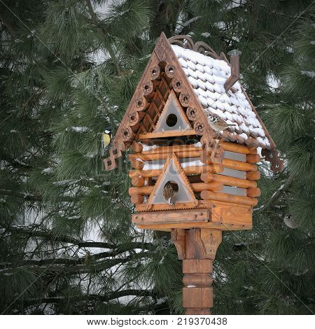 Wooden carved trough in the form of a small house for small birds in a hungry winter season, helping people with titmouses and sparrows, in Tolgsky monastery, in Russia, a bird feeder