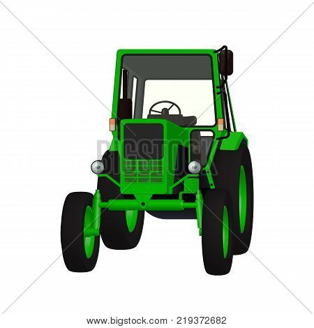 Agricultural tractor 3D vector graphic for tillage, cultivation and harvesting illustration design.