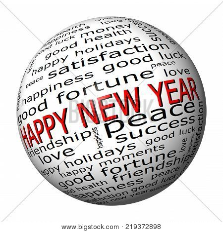 Happy new Year wordcloud  - 3d illustration