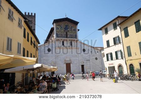 LUCCA, ITALY - JUNE 03: Basilica of San Frediano, Lucca, Tuscany, Italy on June 03, 2017.