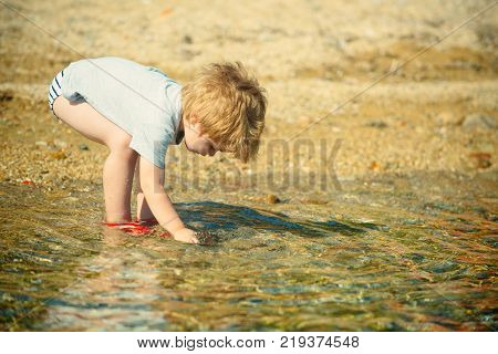 Summer Holiday Vacation Background. Trip To The Sea. Seaside Vacation With Children. Tourism In The