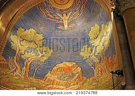 JERUSALEM, ISRAEL - SEPTEMBER 20, 2017: The interior of The Church of All Nations (Basilica of the Agony) in Jerusalem